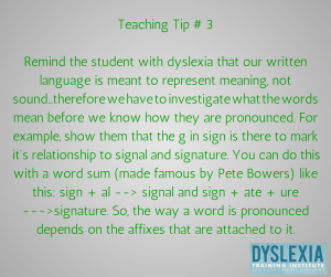 Teaching Tip 3 - Teaching Students with Dyslexia - Dyslexia Training Institute